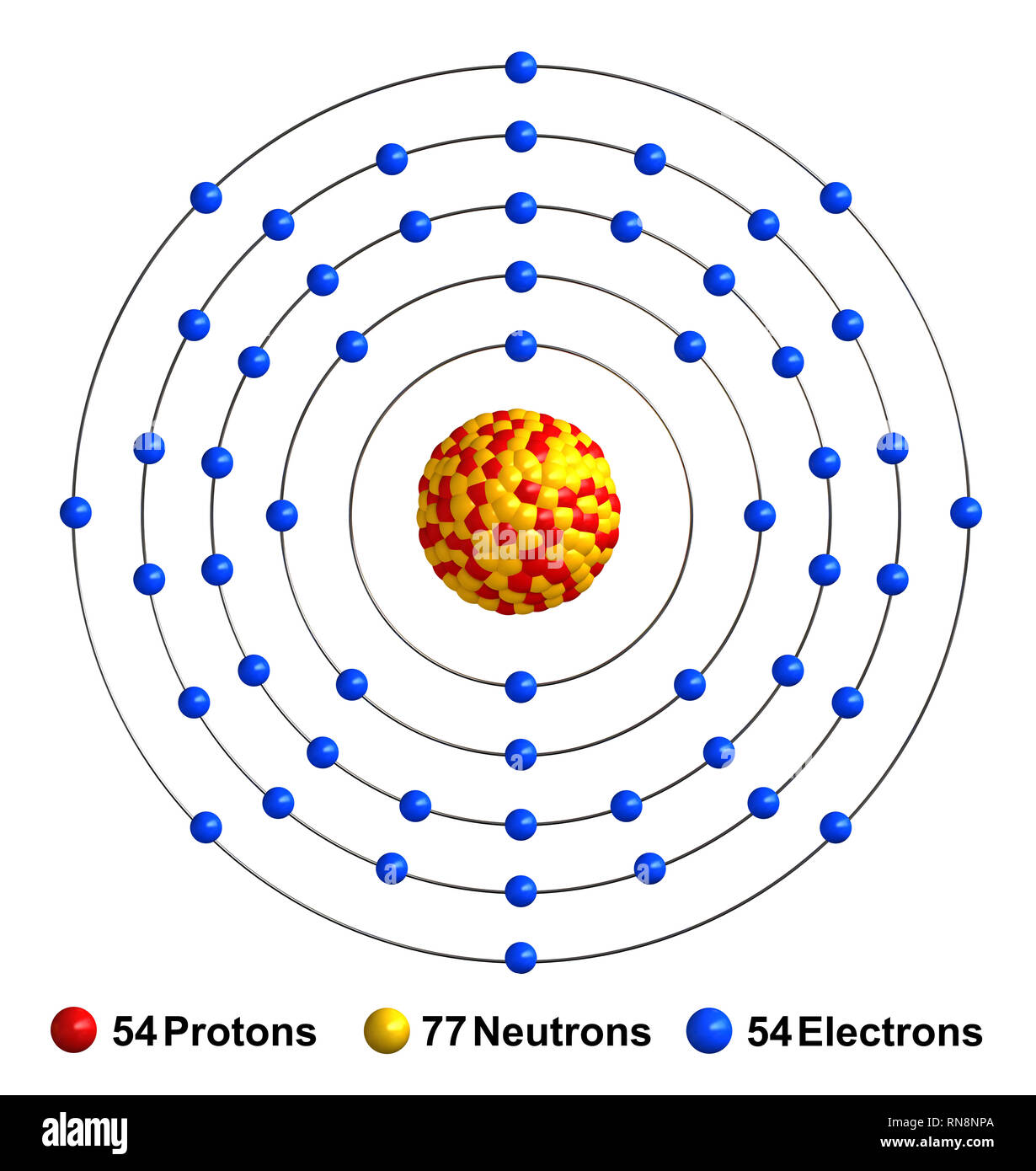 hight resolution of 3d render of atom structure of xenon isolated over white background protons are represented as red