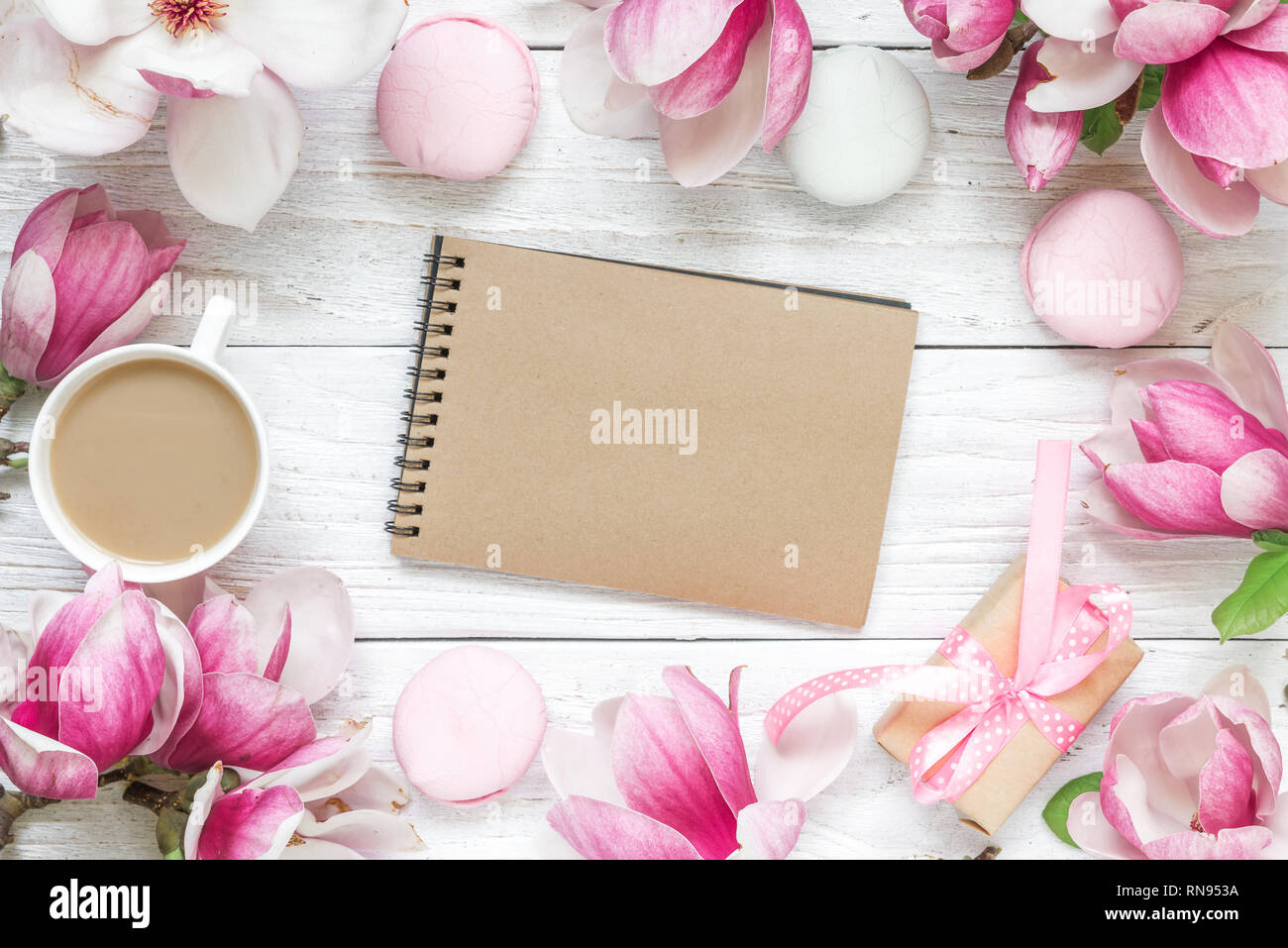 https www alamy com wedding invitation card paper blank magnolia flowers marshmallows gift box on white background wedding concept flat lay top view with copy spac image236844142 html