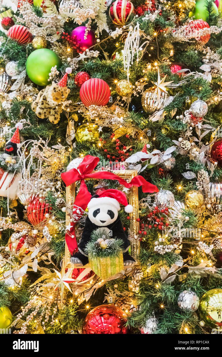 Japan Honshu Tokyo Christmas Tree Decorations With Panda Stock Photo Alamy