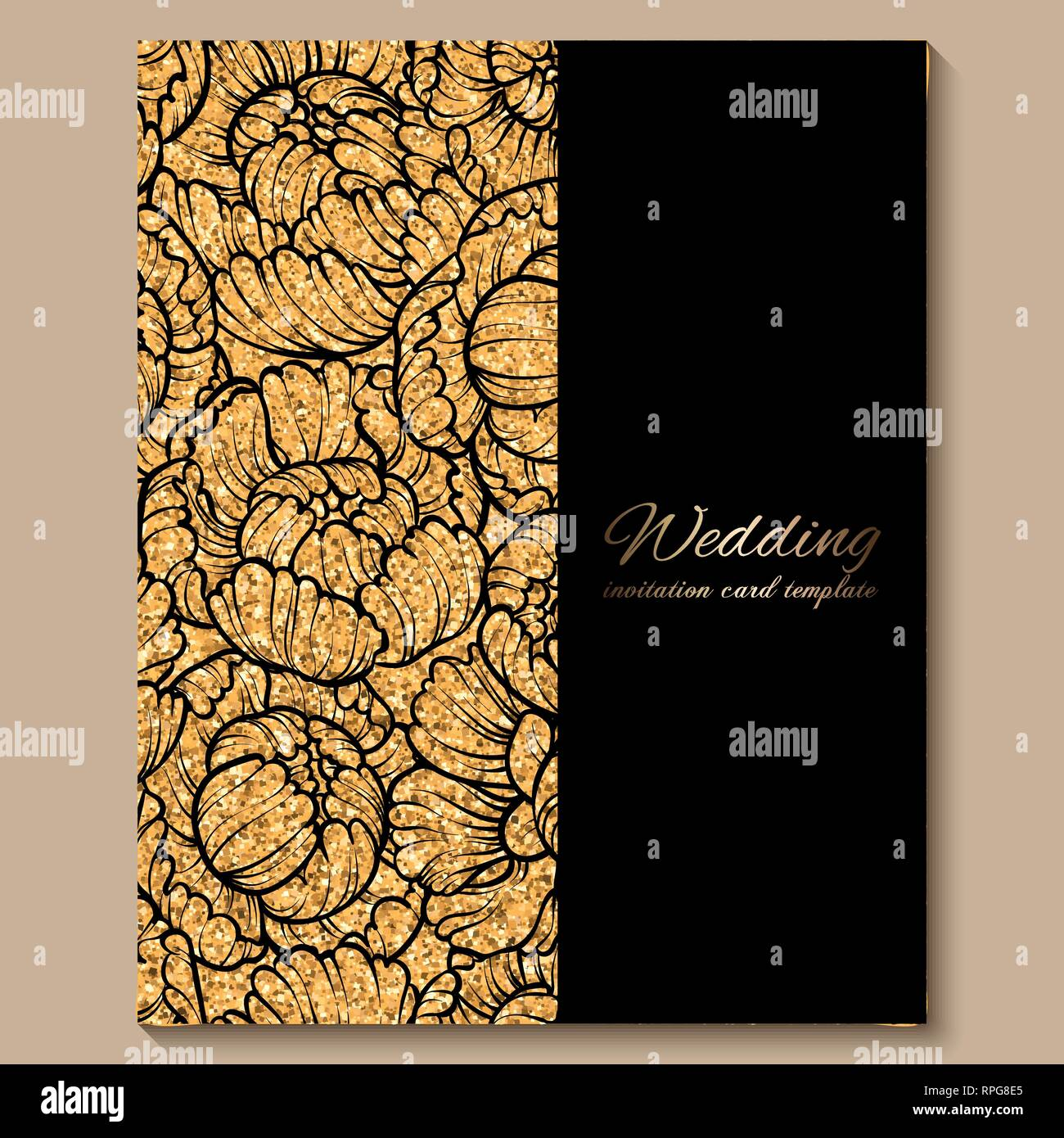https www alamy com antique royal luxury wedding invitation card golden glitter background with frame and place for text black lacy foliage made of roses or peonies image237615117 html