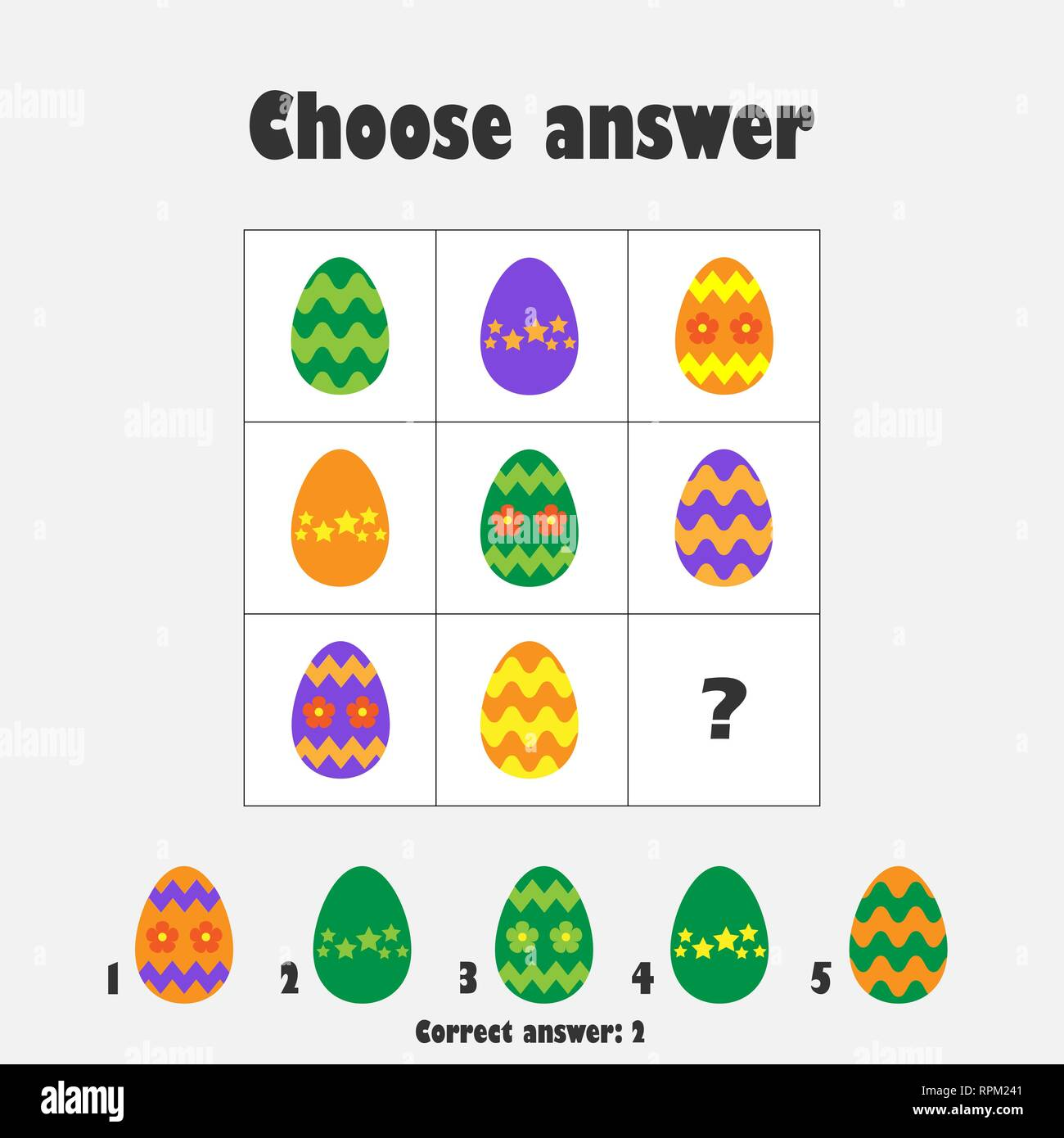 Choose Correct Answer Iq Test With Easter Eggs For