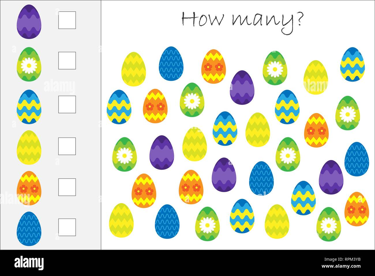 How Many Counting Game With Decoration Easter Eggs For