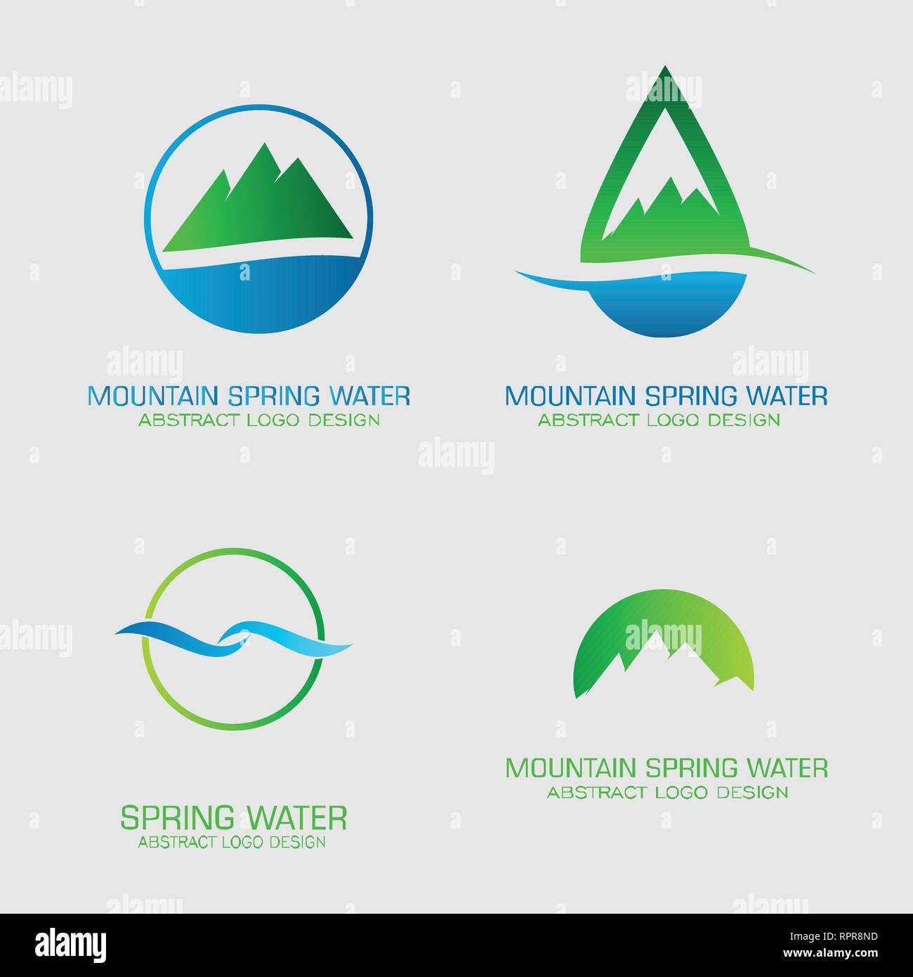 hight resolution of mountain spring water logos set