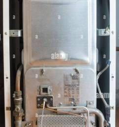 old gas heater gas furnace for central heating with pipes and wires  [ 789 x 1390 Pixel ]