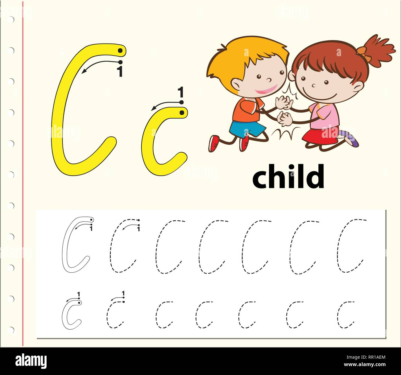 Letter C Tracing Alphabet Worksheets Illustration Stock