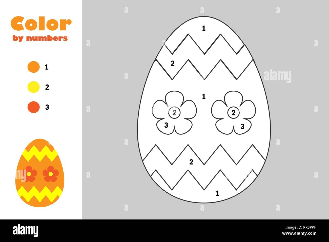 Decoration Egg In Cartoon Style Color By Number Easter