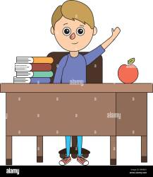 Happy Cartoon Child Student Desk High Resolution Stock Photography and Images Alamy