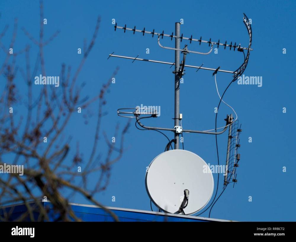medium resolution of several different antennas including satellite dishes against a blue sky ctk photo roman krompolc