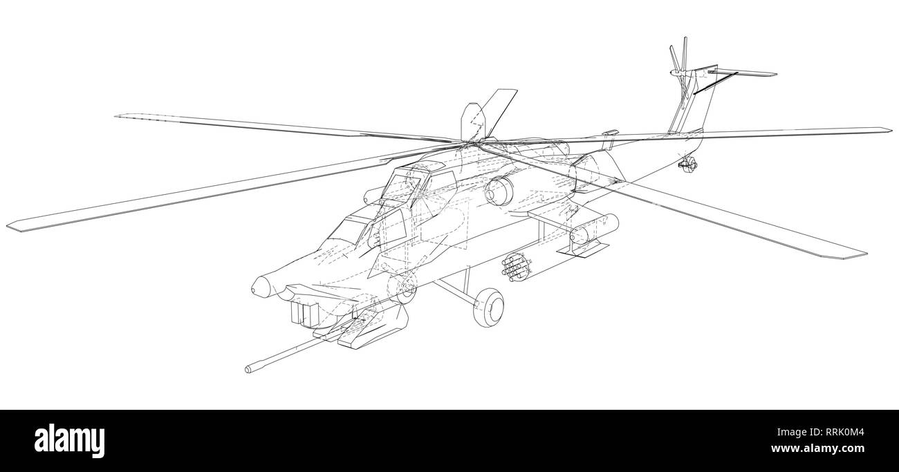 hight resolution of silhouette of military helicopter created illustration of 3d vector wire frame concept