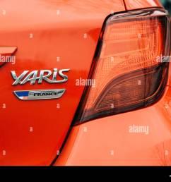strasbourg france dec 14 2018 reav view of red toyota yaris car [ 1300 x 1011 Pixel ]