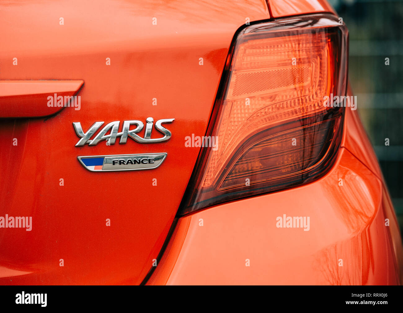 hight resolution of strasbourg france dec 14 2018 reav view of red toyota yaris car