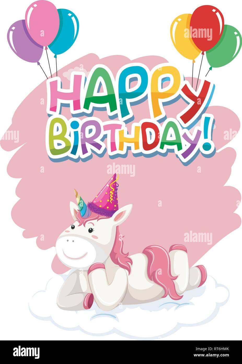 https www alamy com a cute unicorn happy birthday icon illustration image238632147 html