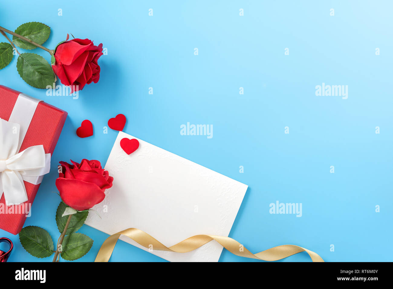https www alamy com beautiful greeting invitation card concept of mother day valentine day anniversary and birthday isolated on blue color background copy space top image238633947 html