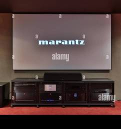 miami beach fl february 28 home theater featuring vutec silver star screen parasound amps golden ear speakers oppo player marantz pre amp  [ 1300 x 821 Pixel ]