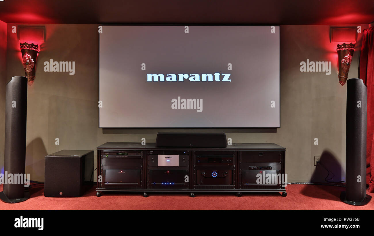 hight resolution of miami beach fl february 28 home theater featuring vutec silver star screen parasound amps golden ear speakers oppo player marantz pre amp