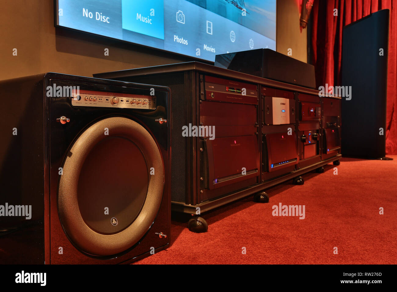 hight resolution of miami beach fl february 28 home theater featuring vutec silver star screen parasound amps