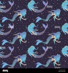 creatures underwater mythical mermaids pattern seamless dark vector alamy polka dot source