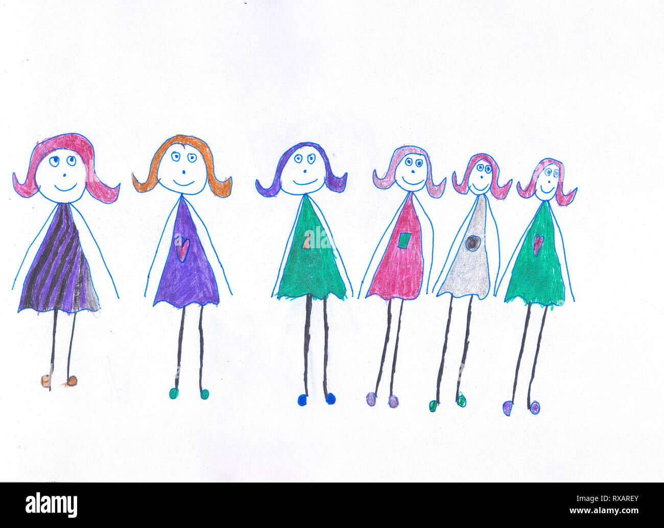 six girls in multicolored