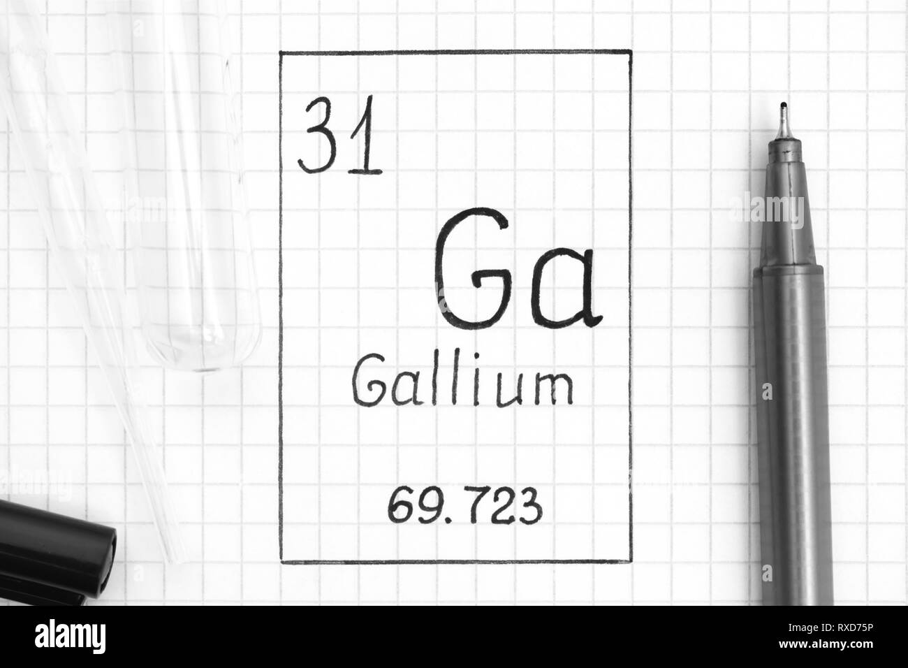 hight resolution of handwriting chemical element gallium ga with black pen test