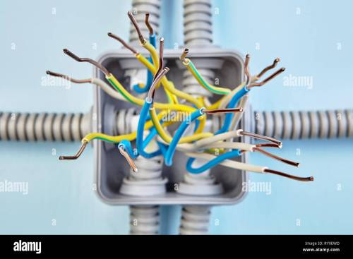 small resolution of diagram of copper wiring of junction box exposed wire ends close up