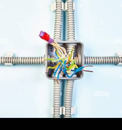 diagram of junction box with copper wiring spliced with help of heat shrink tubing and insulating tape  [ 1300 x 956 Pixel ]