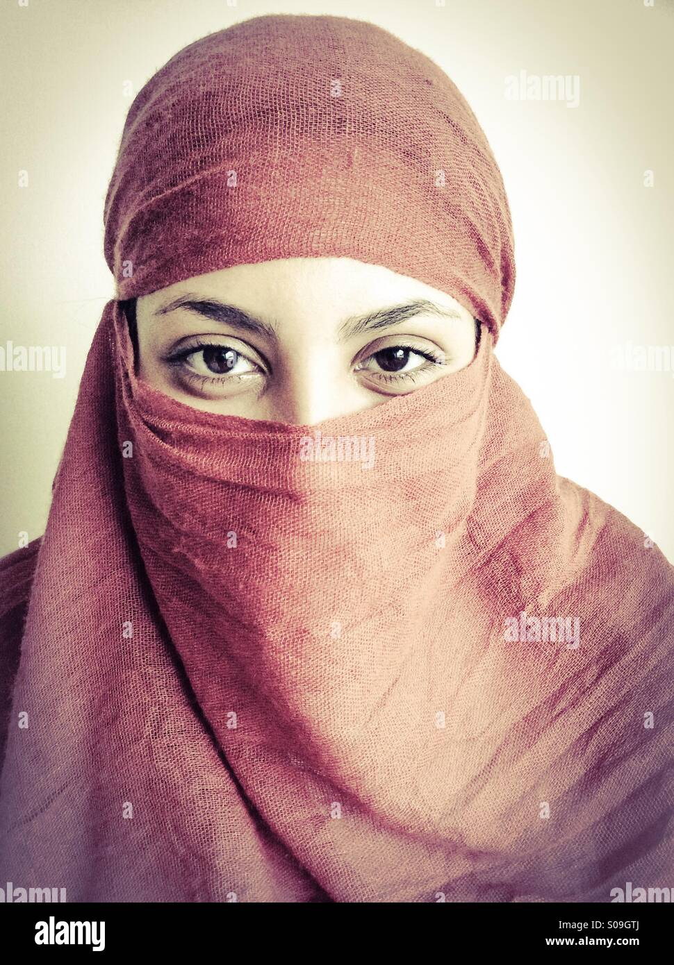 Arab Girl Smiling With Her Eyes Stock Image