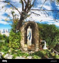 Virgin Mary grotto in backyard in Calgary Alberta Stock ...