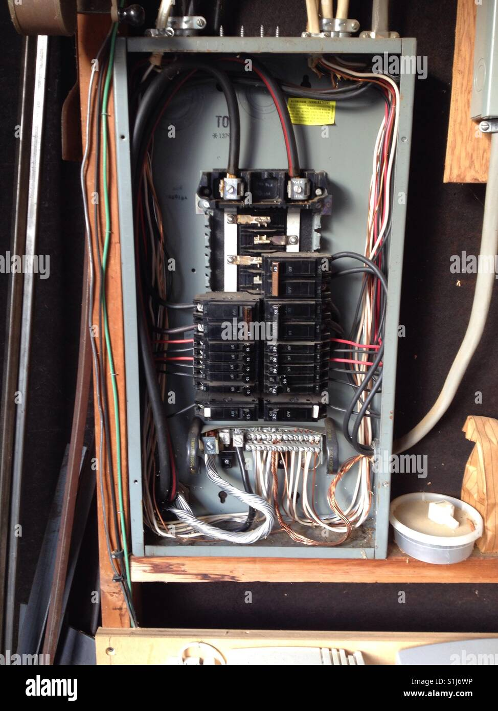 medium resolution of circuit breaker box interior stock image