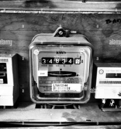 electricity meters in flat complex stock image [ 974 x 1390 Pixel ]