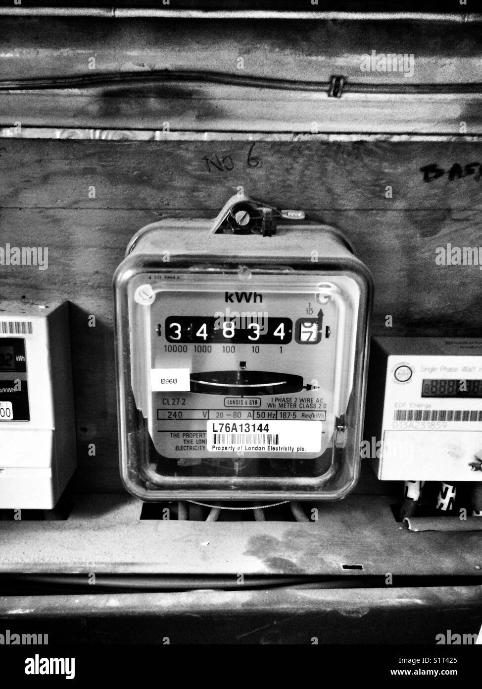 hight resolution of electricity meters in flat complex stock image
