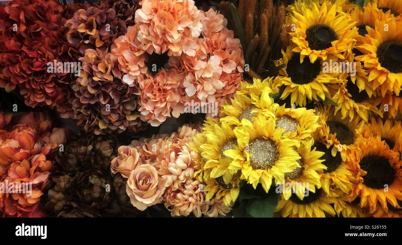 artificial flowers in fall