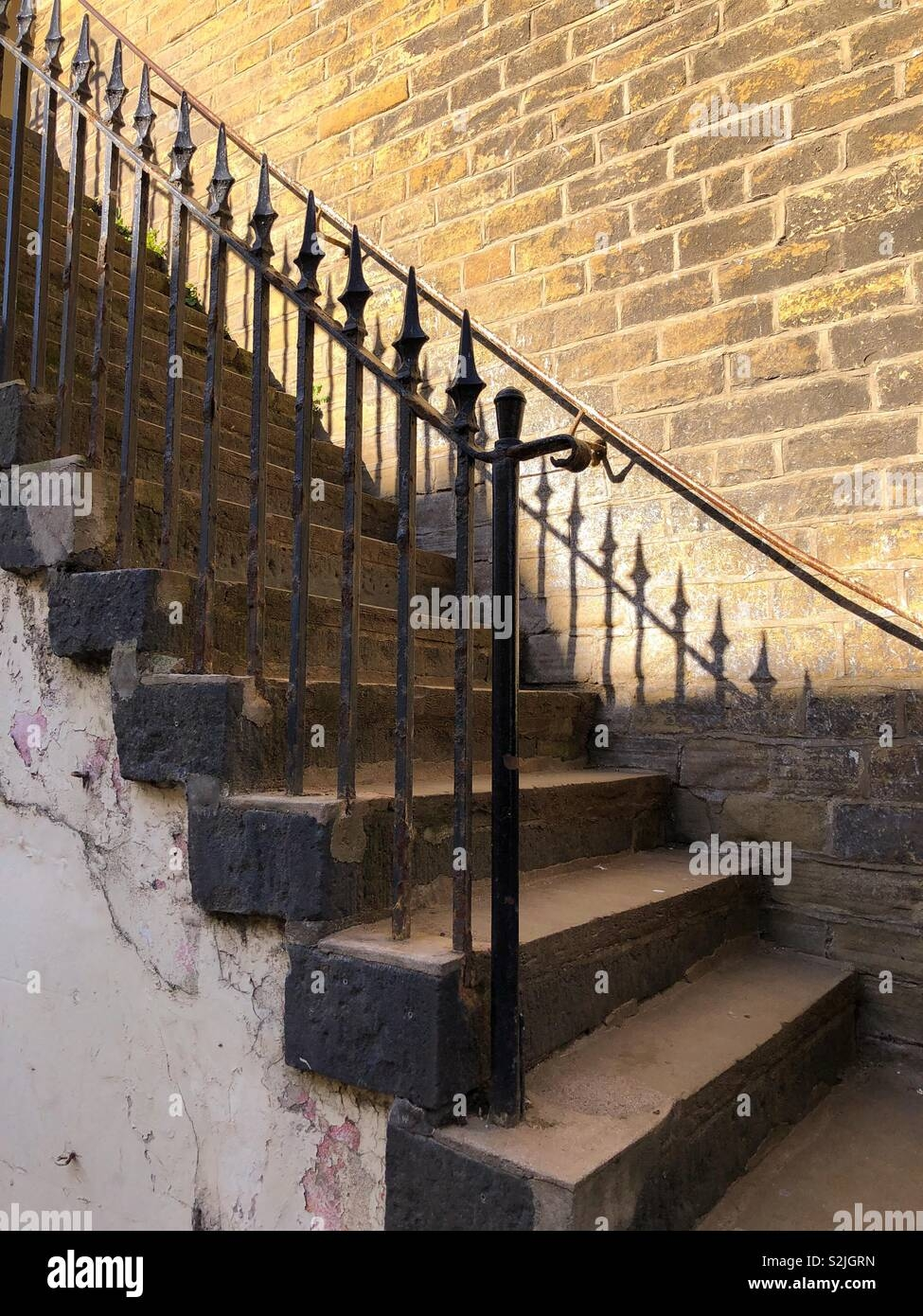 Flight Of Old Stone Steps With Wrought Iron Railings Leading Up | Wrought Iron Railings For Steps | Custom | Metal | 2 Step | Rough Iron | Exterior