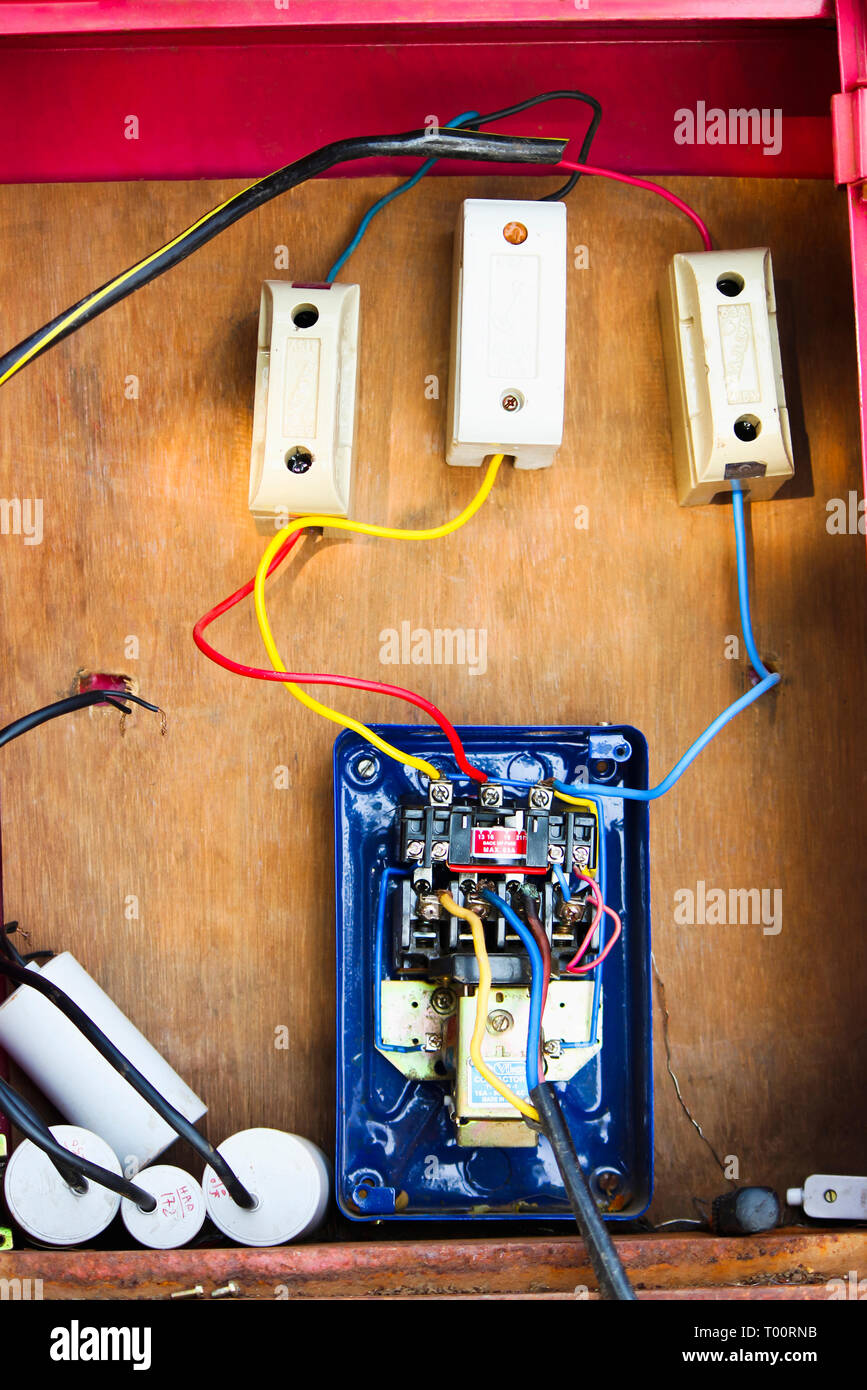 medium resolution of electrical wires fuse boxes and cable attached to motor starter