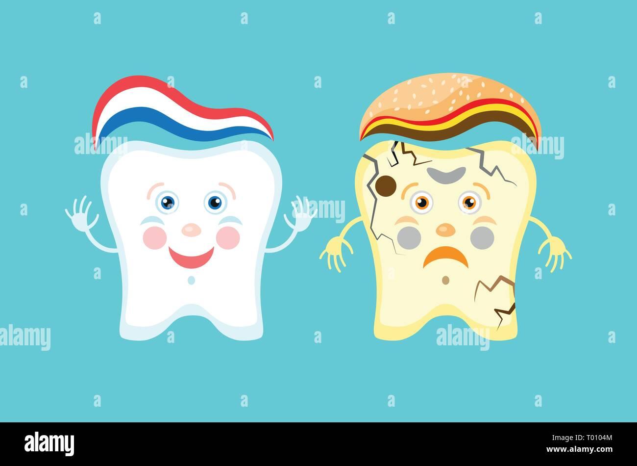 Unhealthy Vs Healthy Teeth Cartoon Comparison