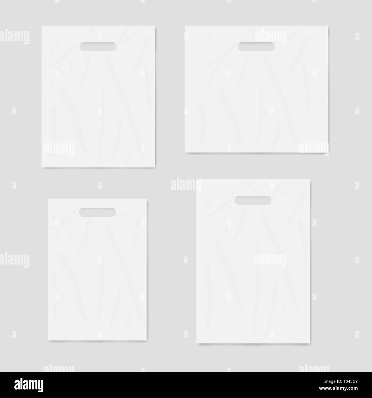 hight resolution of white blank merchandise plastic bags with die cut handles realistic vector mockup set template for design