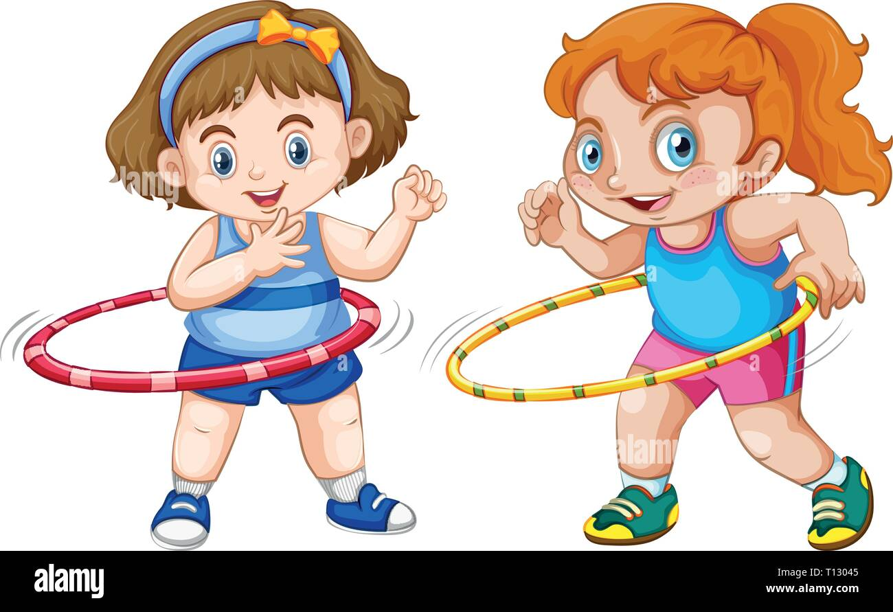 hight resolution of fat girl playing hula hoop illustration