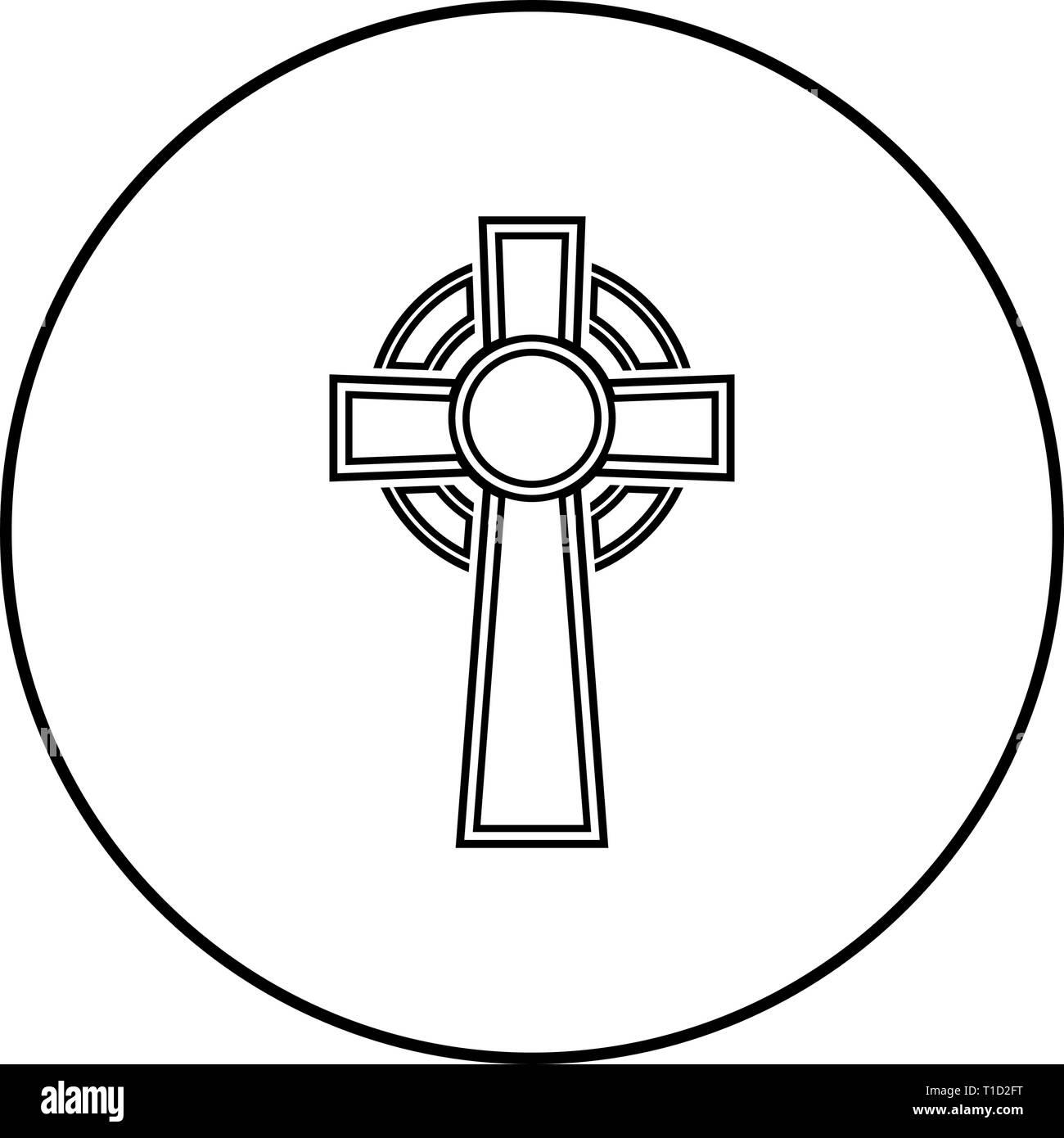 celtic cross icon outline