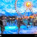 Watercolor Illustration Of Berlin Christmas Fair With Ice Skating Sport And Ferris Wheel Stock Photo Alamy