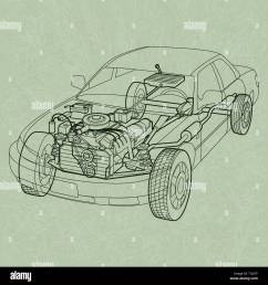 generic car diagram a ghosting or cross section of a car showing the engine  [ 1300 x 1390 Pixel ]