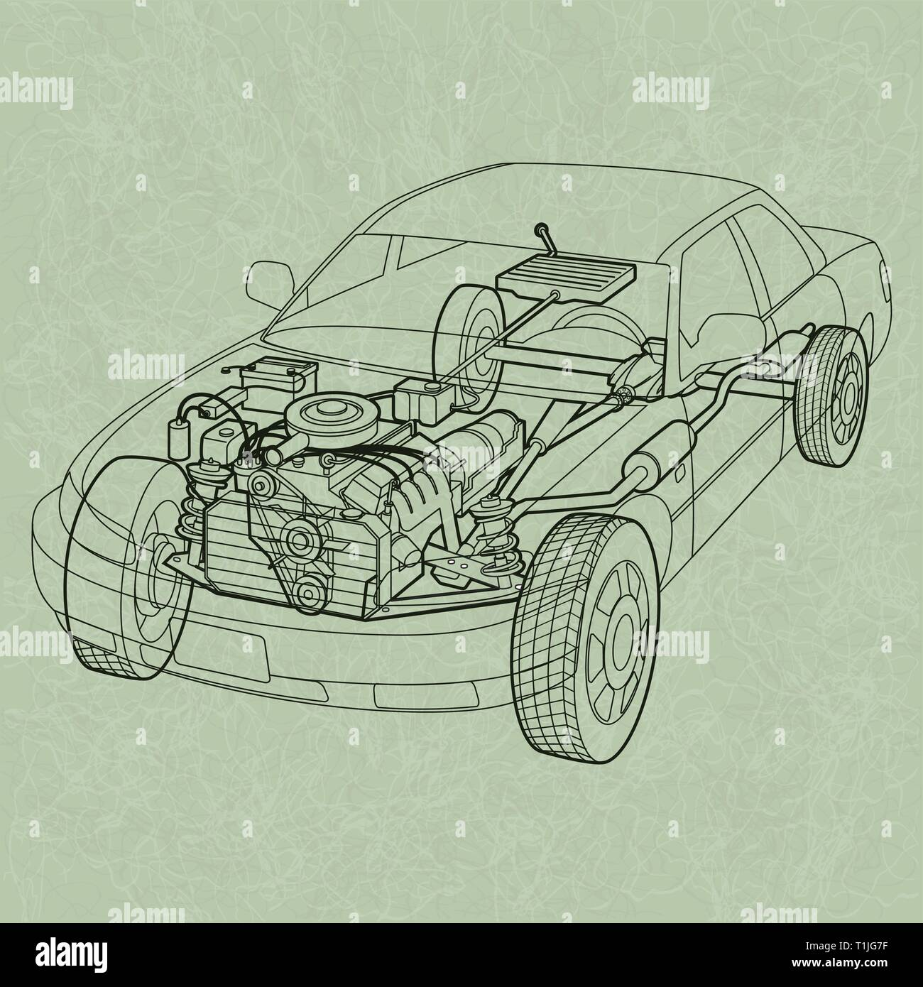 hight resolution of generic car diagram a ghosting or cross section of a car showing the engine