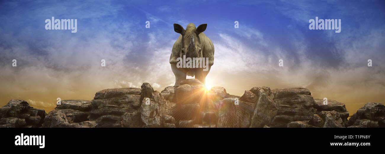 rhino at sunset 3d