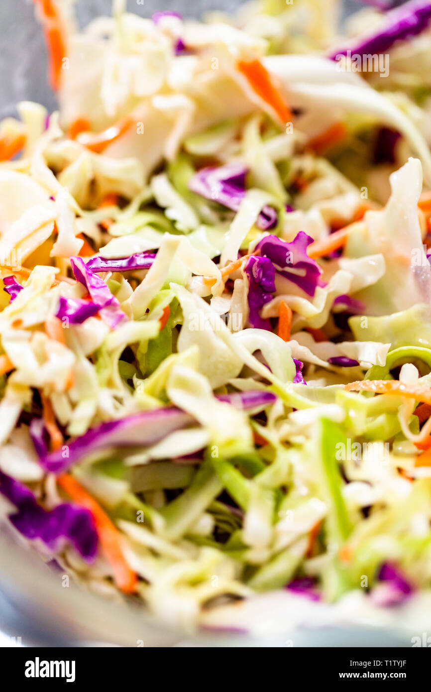 Coleslaw Etymology : coleslaw, etymology, Close, View., Making, Homemade, Coleslaw, Glass, Stock, Photo, Alamy
