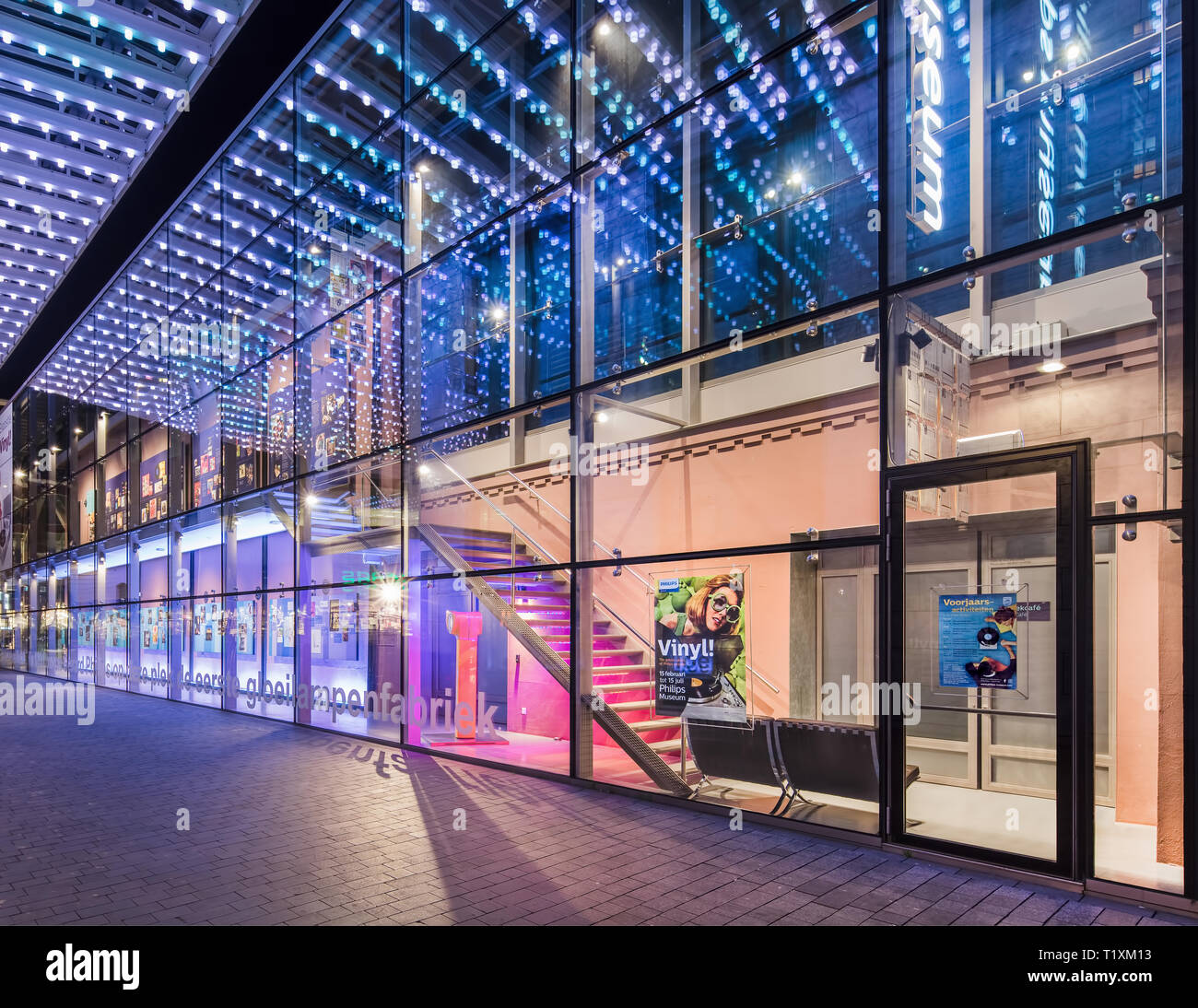https www alamy com facade of the philips museum at night it is housed at the historic location where in 1891 gerard philips manufactured his first incandescent light image242146271 html