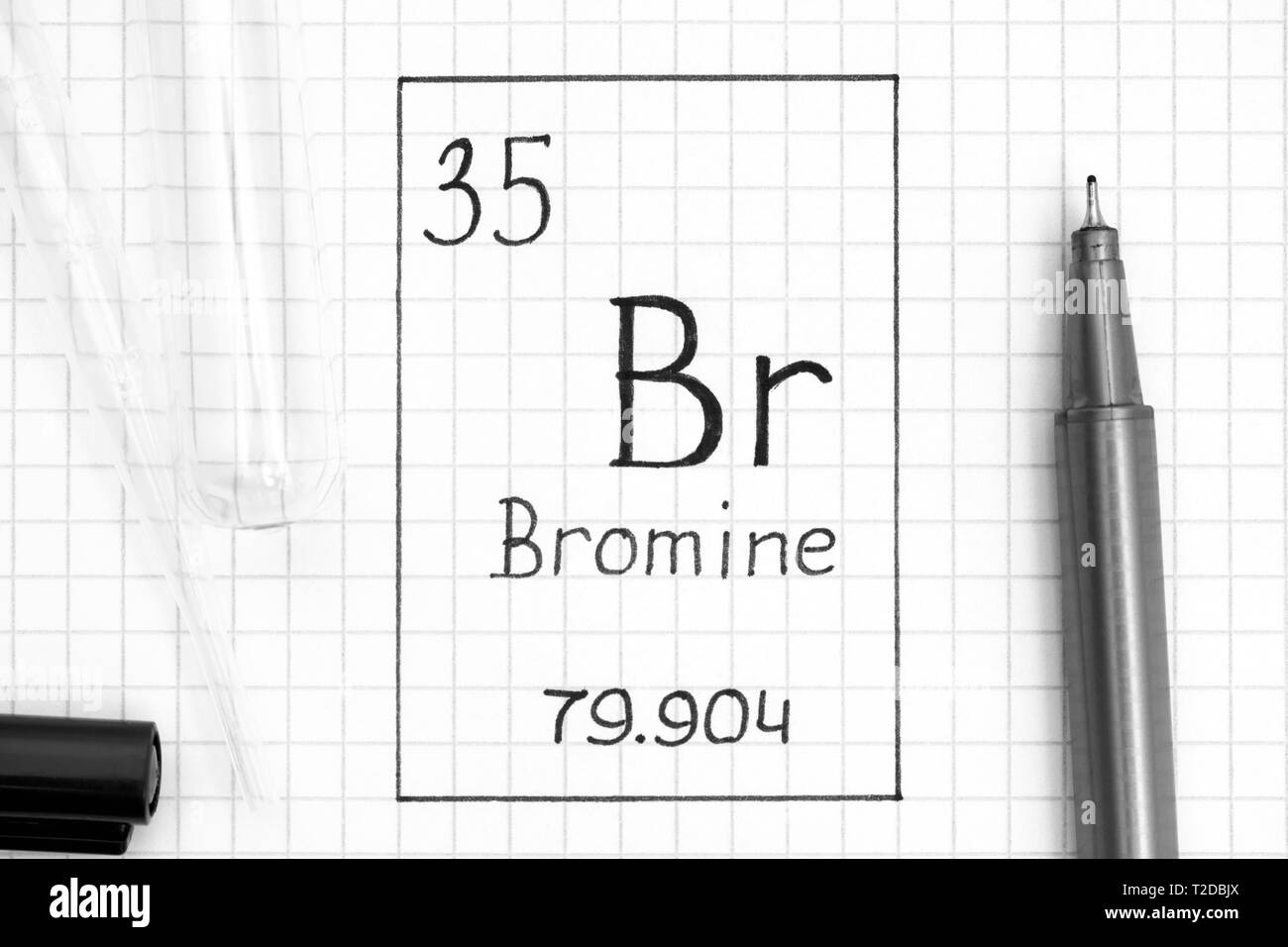 hight resolution of handwriting chemical element bromine br with black pen test