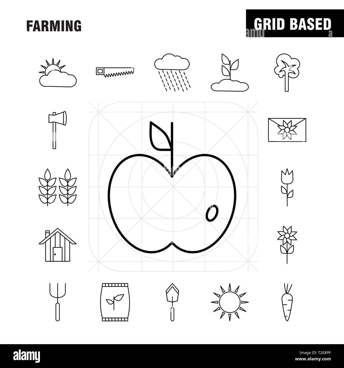 hight resolution of farming line icon for web print and mobile ux ui kit such as bag grain rice sack wheat letter massage paper pictogram pack vector