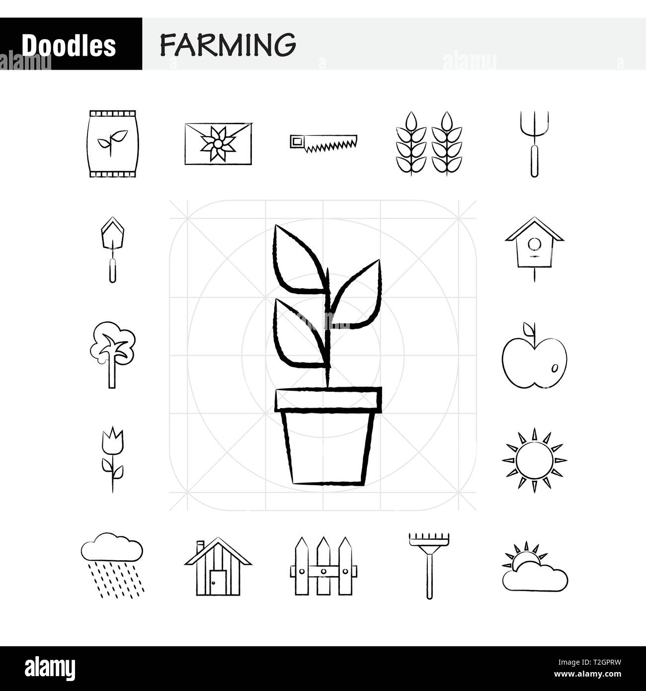 hight resolution of farming hand drawn icon for web print and mobile ux ui kit such as bag grain rice sack wheat letter massage paper pictogram pack vector
