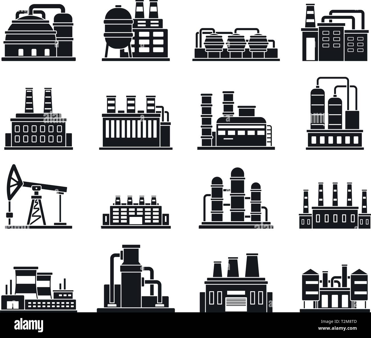 refinery plant factory icons