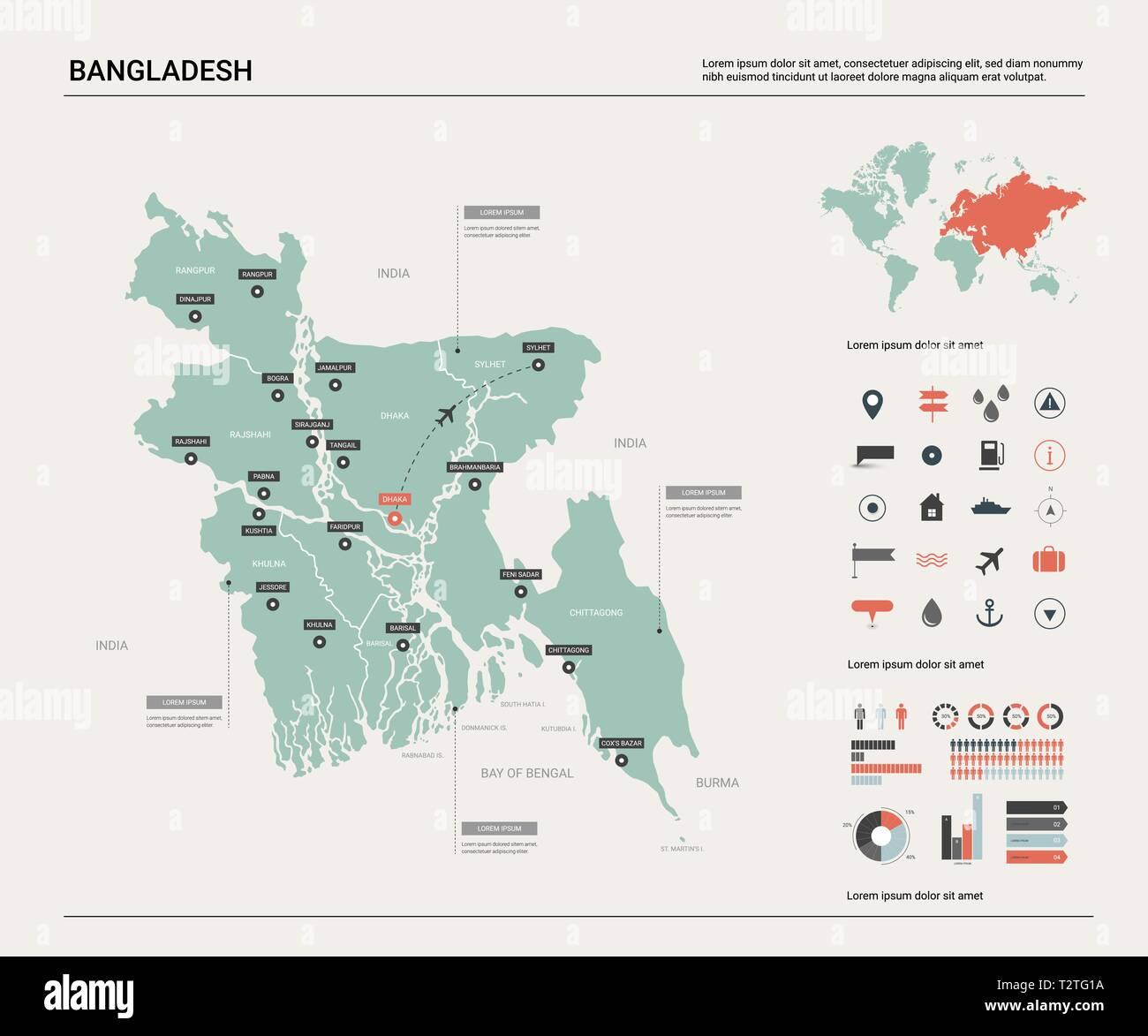 Vector Map Of Bangladesh High Detailed Country Map With Division Cities And Capital Dhaka Political Map World Map Infographic Elements Stock Vector Image Art Alamy