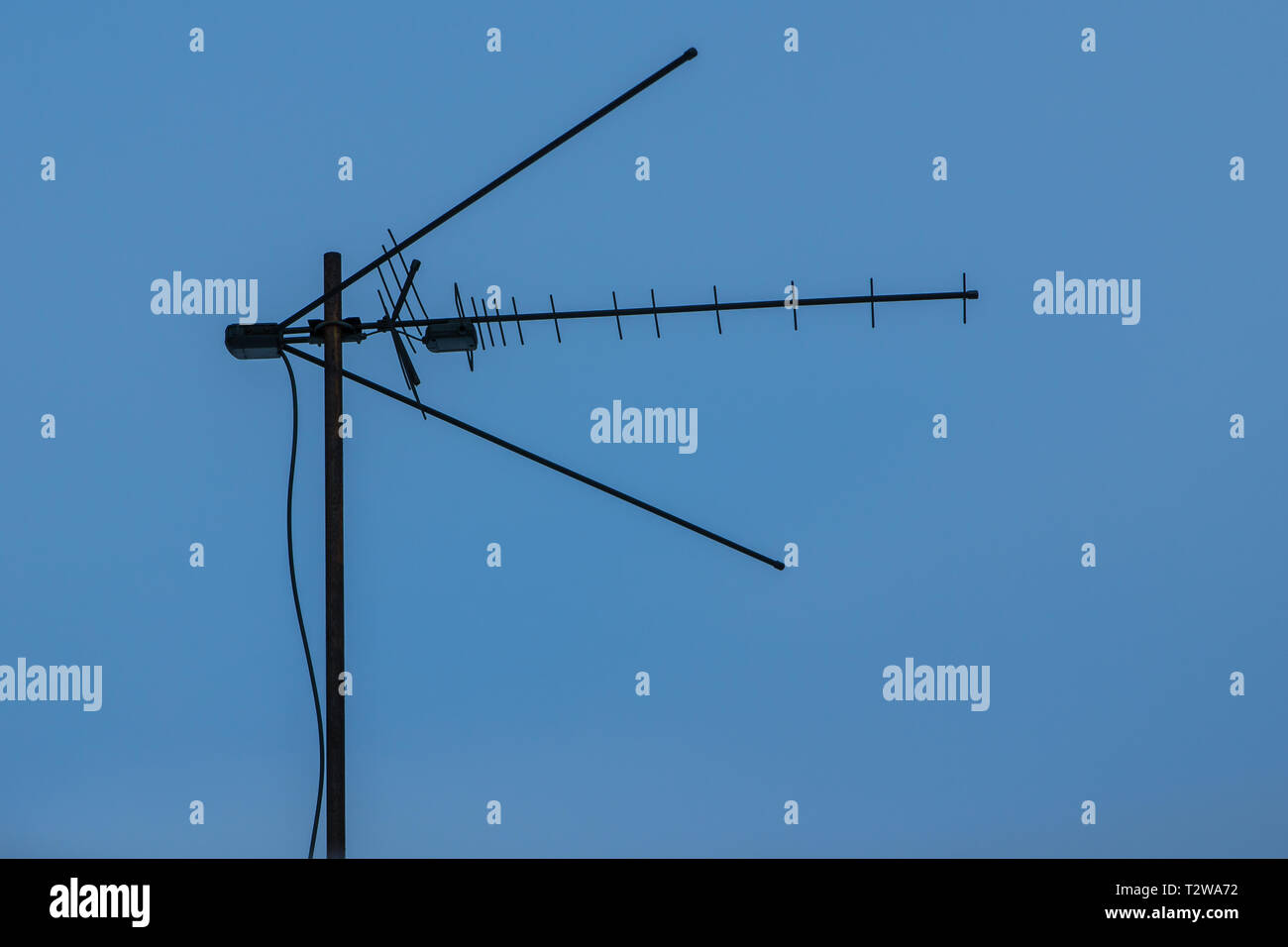 hight resolution of broadband television antenna against a blue sky analog and digital broadcasting
