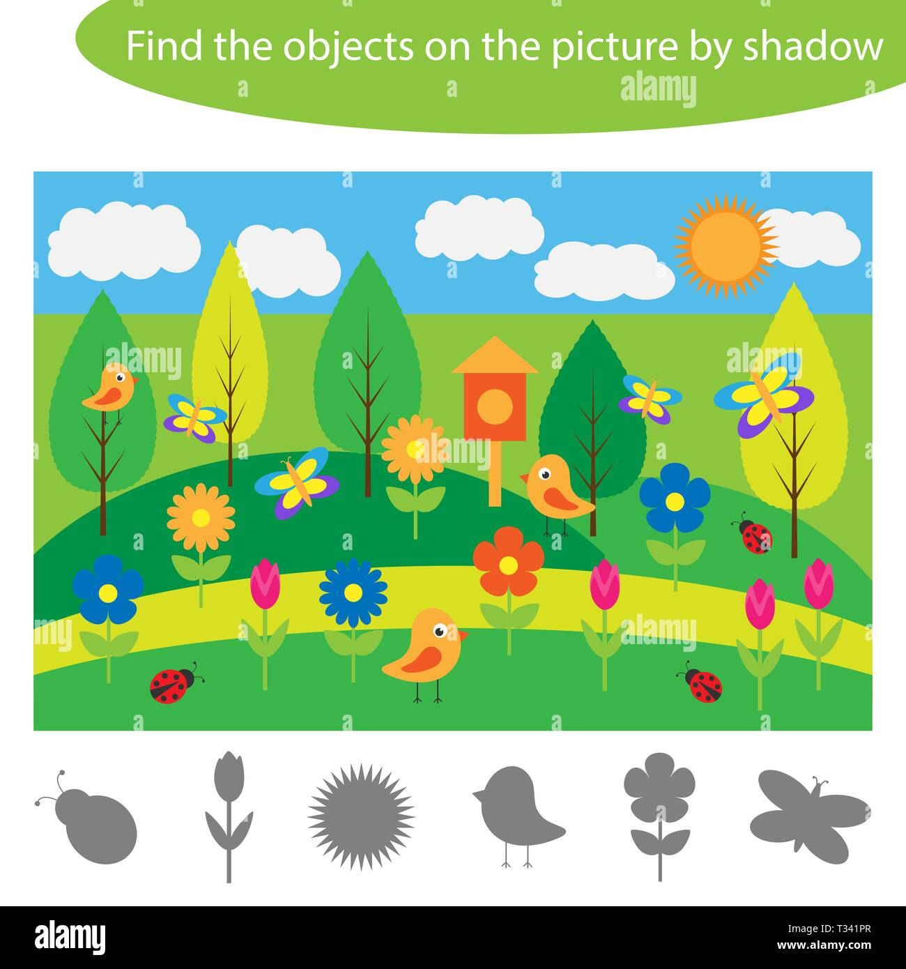 Find The Objects On The Picture By Shadow Summer Game For